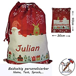 Nikolaussack beidseitig personalisierbar mit Namen, Text, Spruch. / Weihnachtsmann/Rentier/Geschenkbeutel/Jutesack…