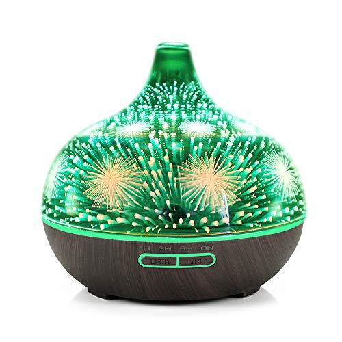 3D Glass Glas Feuerwerk Ultraschall Ätzöl-Öl-Aromatherapie Diffuser,400ml Kapazität Aroma Humidifier mit 7 Farben geändertes LED-Mood Light, Waterless Auto Shut-off-Schutz (Dark Wood Base)