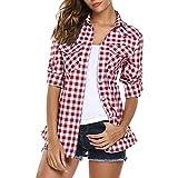 Yanhoo-Bekleidung Damen Casual Kariertes Hemd,Yanoo Frauen Tartan Plaid Flanellhemden Roll up Sleeve Casual Tops Knopf Unten Langarmshirt Bluse