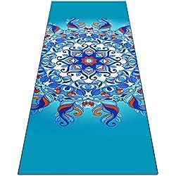 Heathyoga Toalla para Yoga ingeniosos Bolsillos en Las Esquinas, tapete-Toalla para Yoga, Bikram y Pilates 100% de Microfibra. Botella atomizadora Gratis incluida, Aqua Mandala