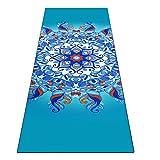 Heathyoga printed yoga towel (Aqua Mandala)