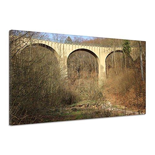 Brücke Viadukt Eisenbahnbrücke Schienen Wald Leinwand Poster Druck Bild rv0921 80x60