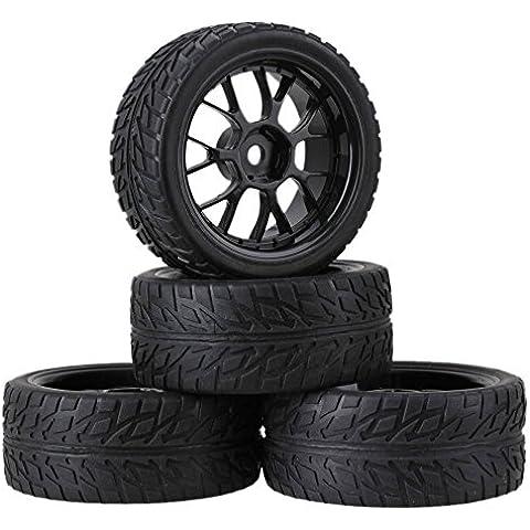 Youzone RC 1:10 de carretera de coche del patrón de la llama Negro Neumático de caucho y plástico Negro Y-forma del borde de la rueda 12 mm hexagonal (paquete de