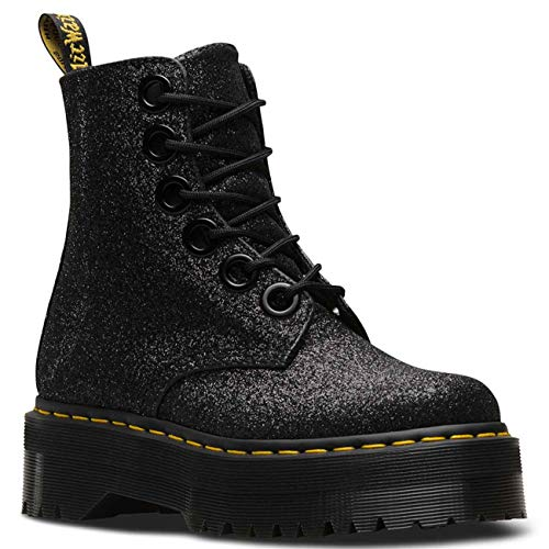 Dr. Martens Womens Molly Glitter Lace up Stiefel Black Glitter UK6.5 EU40 US8.5
