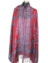 Lovarzi - Femenina bufanda cum mantón rojo y azul - paisley hermosas bufandas para mujer - las señoras bufandas pashminas