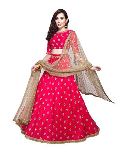 Shivam Embroidery Women's Silk Pink Lehenga Cholis(NT531_Pink_Free Size)