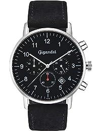 Gigandet Herrenuhr Minimalism II Armbanduhr Edelstahl Herren Zwei Zeitzonen GMT Analog Datum Lederarmband Uhr Schwarz Silber G21-003