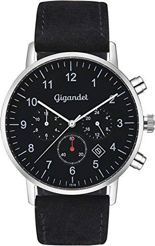 Reloj Gigandet Minimalism II G21-003, de acero inoxidable y correa de cuero para hombre, con dos zonas horarias GMT, analógico, fecha, color negro y gris