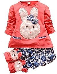 Hotportgift Ensemble pour bébé fille composé d'un haut et d'un short - Motif joli lapin