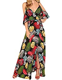 Damen Kurzarm Kleid Maxikleider Blumenkleid Blätter Drucken Strandkleid  Vintage Abendkleid Rundhals Hohe Taille Elegant Floral Print 73c4ebaffe