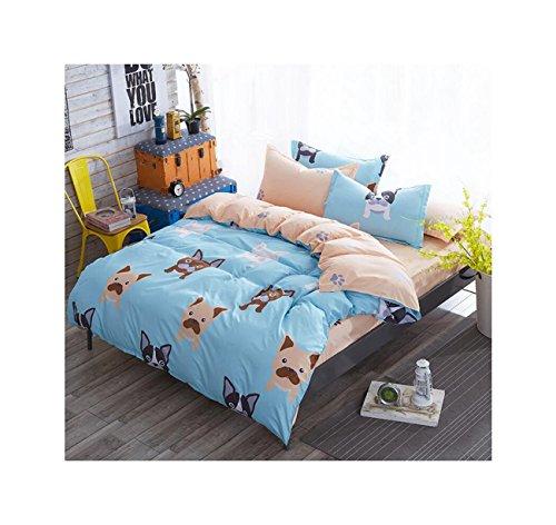 Für Queen-bettdecken Teenager-mädchen (Die peachess 4Stück Bettbezug und Kissenbezüge Bettwäsche-Sets, Tröster Quilt Sets bedruckt Design, baumwolle, hund, Queen)