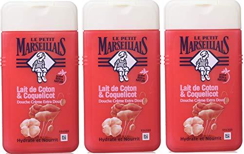 Le Petit Marseillais Douche Crème Extra Doux Lait de Coton et Coquelicot 250 ml Lot de 3