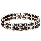 Oidea Armband Herren Damen Armband Edelstahl Keramik Healthy Gold Schwarz