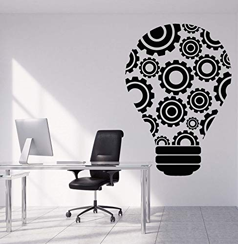 jiuyaomai Vinyl Wall Decal Birne Idee Teamwork Gear Büro Dekoration Aufkleber Office Quote Workstation Inspirational Wallpaper 42x60cm -