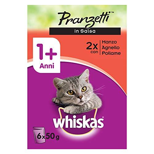 Whiskas Pranzetti in Salsa 1+ Anni 6 x 50 g, Cibo per Gatto con Manzo, Agnello e Pollame - 12 Confezioni (72 Pezzi in Totale)