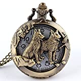 Quarz-Taschenuhr aus Bronze im Retro-Stil mit hohlem Deckel, Wolf-Motiv, Halskette, Anhänger, Kette