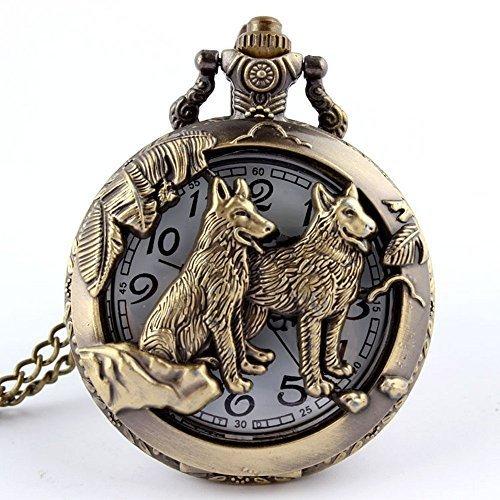 EEvER Wohnkultur Ideales Geschenk Taschenuhr Tier Wolf Hohl Halskette Anhänger Kette Retro Quarz Bronze Uhr