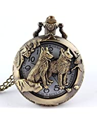 baido poche de quartz Retro Animal Loup Collier creux Collier de bronze montre de