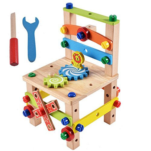 Kitchnexus Holz Werkbank Mit Zubehör Und Werkzeug Pädagogisches Spielzeug Montage und Demontage Für Kleinkinder Blocks Set Rollenspiele