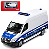 Mercedes-Benz Sprinter II Kasten Transporter Weiss Blau Polizei NCV 3 W906 Ab Facelift 2013 H0 1/87 Herpa Modell Auto mit individiuellem Wunschkennzeichen