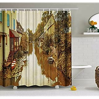 GUEQUITLEX Bathroom Shower Curtain 3D Polyester Washable Waterproof Polyester Fabric Shower Curtains Mould Proof Resistant Bath Curtains with Hooks for Bathroom (River, 72W x 72L)