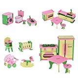 #8: Segolike 4 Sets Wooden Doll House Miniatures Accessories Kitchen Bathroom Baby Room Furnitures Children Kids Pretend Play Toys Chrismas Gifts