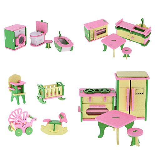 MagiDeal 4 Set Di Casa Bambola Miniatura Stanza Bagno Cucina Mobili Accessori Giochi Bambini Legno