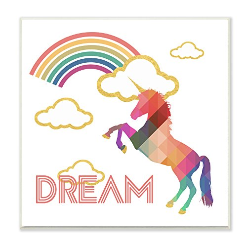 Stupell Industries Dream Rainbow Golden Unicorn Wandschild Art, Mehrfarbig - Rainbow Fine Art