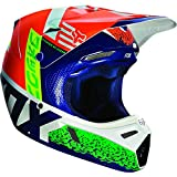 Fox casque V3 divizion Bleu/Jaune, Orange