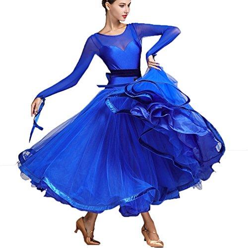 Rongg Modernes Tanz Outfit für Frauen Performance Mesh Stitching Große Schaukel Walzer Ballsaal Tanz Kostüme, Treasure Blue, XL (Blue Zeitgenössischen Tanz Kostüm)