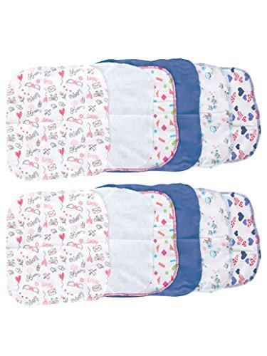 Mee Mee Mini Baby Napkins, Blue/White (Set of 12)