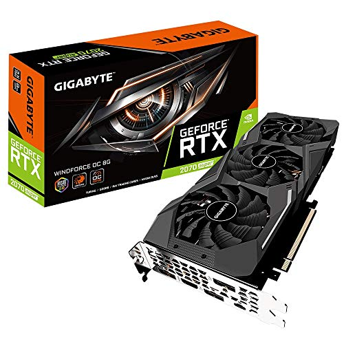 Gigabyte GeForce RTX 2070 Super Windforce 8G Graphics Card, 3X WINDFORCE Fans, 8GB 256-Bit GDDR6, GV-N207SWF3OC-8GC Video Card