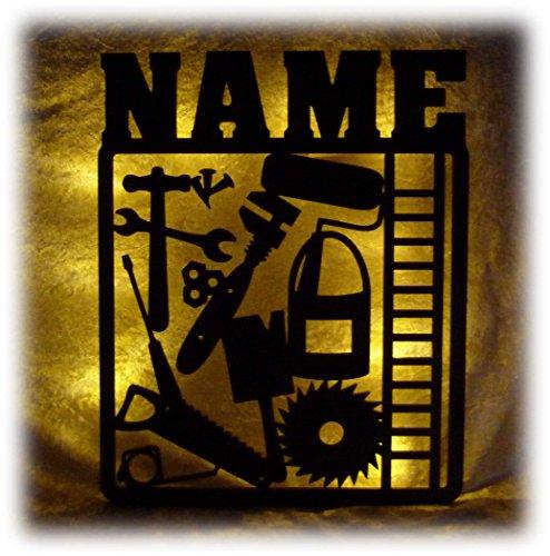 Schlummerlicht24 3d Led Tool Lampe Nachtlicht Werkzeug lustige witzige Männer-Geschenke mit Namen, für Handwerker personalisierte Deko-Lampe Werkstatt Büro Arbeits-Zimmer Dachdecker Auto-Mechaniker (Handwerker Auto-hammer)