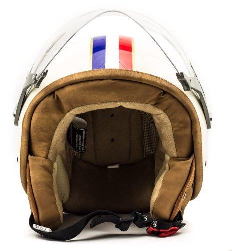 SOXON SP-325 Paris · Vespa-Helm Helmet Cruiser Mofa Roller-Helm Pilot Retro Chopper Jet-Helm Scooter-Helm Motorrad-Helm Bobber Biker Vintage · ECE zertifiziert · mit Visier · inkl. Stofftragetasche · Beige · L (59-60cm)