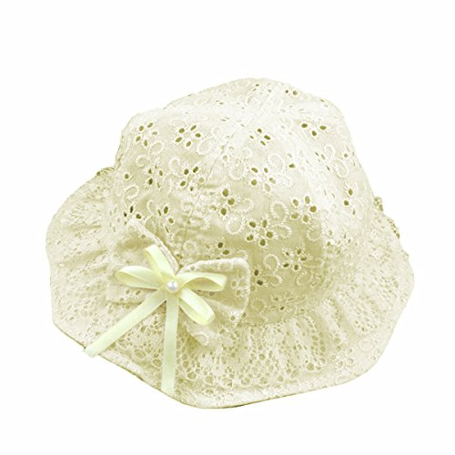 TININNA Chapeau de Soleil d'été Trous de Fleur Papillon à Perle Bébé Enfant Bonnet Casquette à Nouer Photographie Fille Jaune