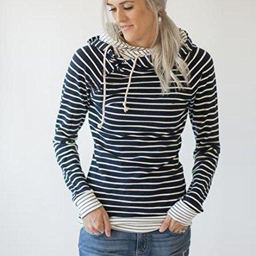 Chemisier Femmes Rayé Sweat à capuche Tops à manches longues T-shirt Chic Rétro Élégant Sweat-shirt Doux Pull Mode Pas cher 2017 Automne Hiver Haut original Marine