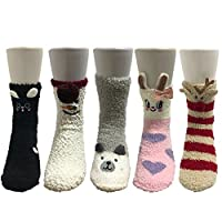 Z-Chen Womens Winter Home Slipper Socks soft warm fuzzy (Pack of 5 Pairs), Set 1(Size: One Size)