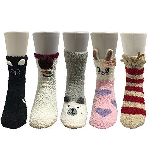 Z-Chen Pack de 5 pares de calcetines para dormir Mujer Térmicos Invierno, Set 1