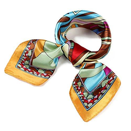 SXON Blumen Bedruckter Seidentuch Kleiner Quadratischer Tuch Geschenk für Elegante Frau Accessories (Gelb)