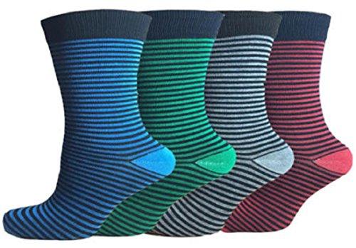 (FF11) da uomo multicolore a righe in cotone Calze da sempre fresco 3pp Colour Stripe (Cotone Rich Dress Calzini)