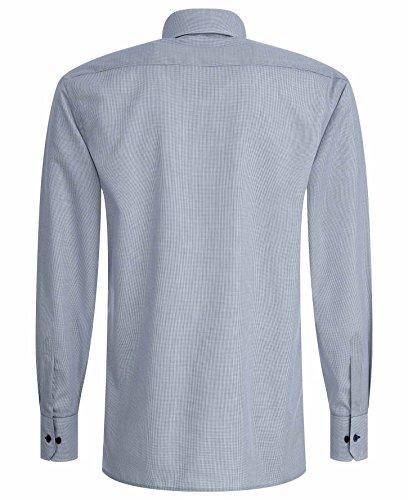 eterna Modern Fit Langarm Blau Kariert mit Classic Kent-Kragen Weiß