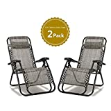 2 x Textoline Reclining Garden Chair Zero Gravity Chairs Beach Sun Lounger Folding & Reclining Sun Loungers Recliner Chairs Weatherproof Textoline made from Steel Frame and Textoline Fabric for Patio, Conservatory, Garden Leisure Zone  (Grey)