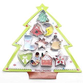 kocykoi Acero Inoxidable 10 Torta de la Galleta del Cortador, el árbol de Navidad Conjunto de Molde, Galletas de Navidad Serie Cortador