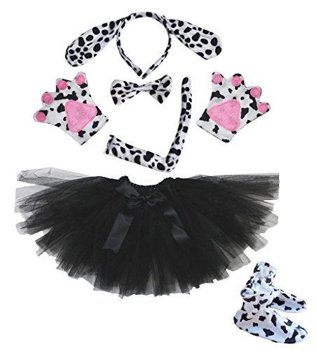 Dalmatians Dog Headband Bowtie Tail Gloves Shoe Black Tutu 6pc Costume for Party (One Size) (Black Dog Kostüm Kinder)