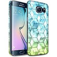 STUFF4 Lucidare Duro Snap On Custodia/Cover/Caso/Cassa del Telefono per Samsung Galaxy S6 Edge / Blu verde / Colore cubo disegno
