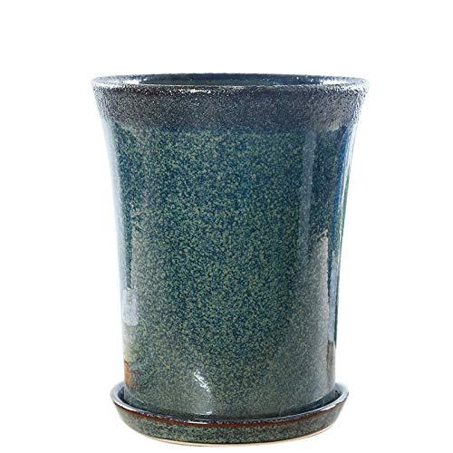 Qp-hp Europäischer minimalistischer keramischer Blumentopf König unter hohen blauen keramischen Töpfen Innentopfpflanze Boden zur Deckenlüftung Töpfe