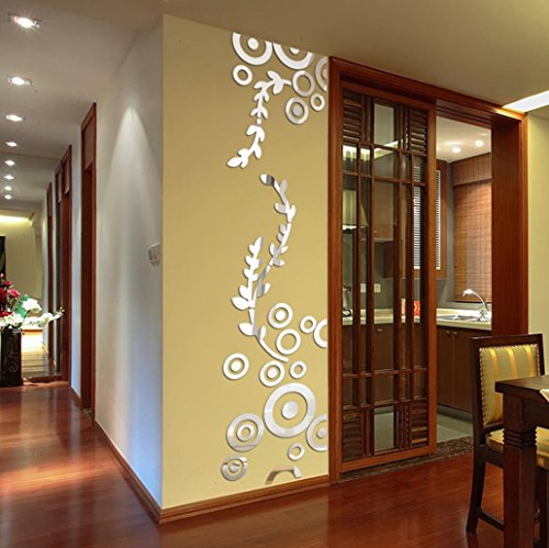 sunnymi Acryl Wall Sticker ✔ 3D Aufkleber ✔Stereoskopischer/300 x 860mm/Abnehmbare Wandtattoo /Wohnzimmer Mädchen Schlafzimmer Dekoration/Kinderzimmer Mauerdekor Wandaufkleber (Silber, 3D)