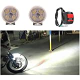 A2D 4 LED Small Round Auxiliary Bike Fog Lamp Light Assembly White Set of 2 with Switch-Hero CD Deluxe