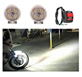 #10: A2D 4 LED Small Round Auxiliary Bike Fog Lamp Light Assembly White Set of 2 with Switch-Hero CD Deluxe