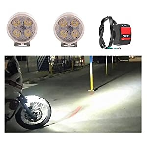 A2D 4 LED Small Round Auxiliary Bike Fog Lamp Light Assembly White Set of 2 with Switch for Hero CD Deluxe